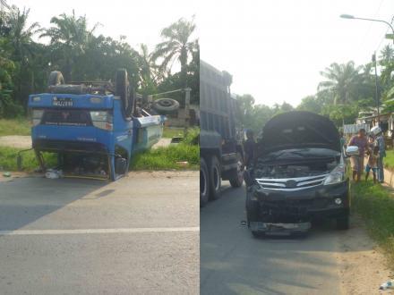Dosen UISU Tabrak Truck Tangki Hingga Terguling
