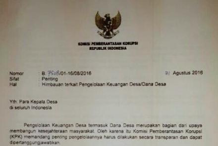 Surat KPK untuk Kepala Desa